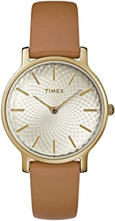 Timex TW2R91800 Women's 34 mm Metropolitan Brown Band Watch Gold Dial Watch