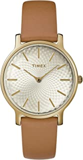 Timex TW2R91800 Women's 34mm Metropolitan Brown Leather Band Gold Dial Watch