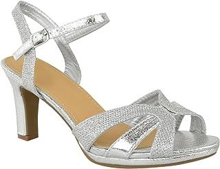 087f143da56b Fashion Thirsty Sandales à Lanières - Femme - Talon Large/Moyen -  Paillette/Fête