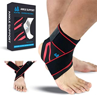 BLUE PINE Ankle Support Adjustable Ankle Brace Pair(2+2 PCs) with Compression Wrap Support