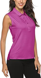 MoFiz Women's Sleeveless Golf Polo Shirts Athletic Workout Outdoor T-Shirts Quick Dry Tennis Tank Tops