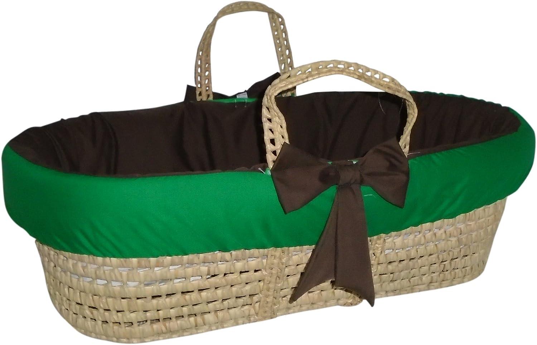 BabyDoll Bedding Reversible Moses Basket Bedding Set, Brown Green