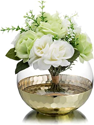 MyGift Clear Round Glass Tabletop Flower Planter Vase with Golden Honeycomb Base