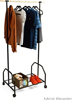 Mind Reader Clothing Garment Rack With One Bottom Shelf For Shoe Organization, Black