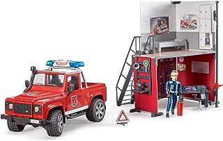 Bruder 62701 bworld Set - Firestation w Land Rover Defender Truck, Fireman and Accessories, L&S Module