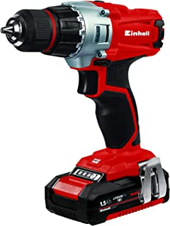 Einhell TE-CD 18/2 18-Volt 1.5Ah Power-X-Change Lithium Ion Cordless Drill, Kit (w/2x 1.5-Ah Battery + Charger)