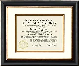 black and gold diploma frame