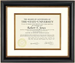 Artcare by Nielsen Bainbridge 12x15 Tuscan Collection Black and Gold Archival Document Frame with Warm White Mat for 8.5x11 Document