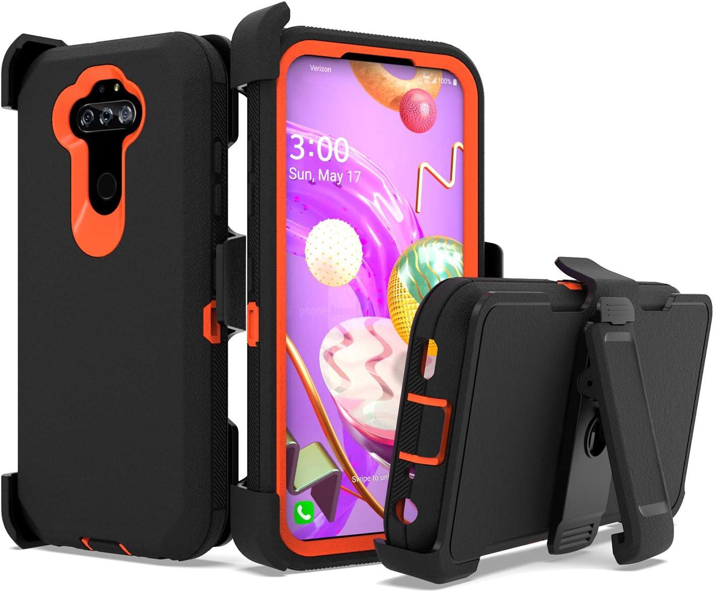 UNC Pro Belt Clip Holster Cell Phone Case for LG Aristo 5/Aristo 5 Plus +/K31/Phoenix 5/Fortune 3/Tribute Monarch/K8x/Risio 4, Heavy Duty Hybrid Shockproof Bumper Case w/Kickstand, Black/Orange