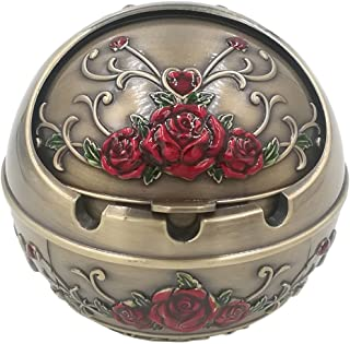 Honoro Windproof Ashtray with Lid for Outdoor and Indoor Use,Metal Portable Cigarette..