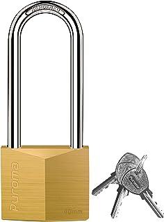 Puroma 1 Pack Keyed Padlock Waterproof Solid Brass Lock, 2.6 Inch Long Shackle for Sheds, Storage Unit School Gym Locker, ...