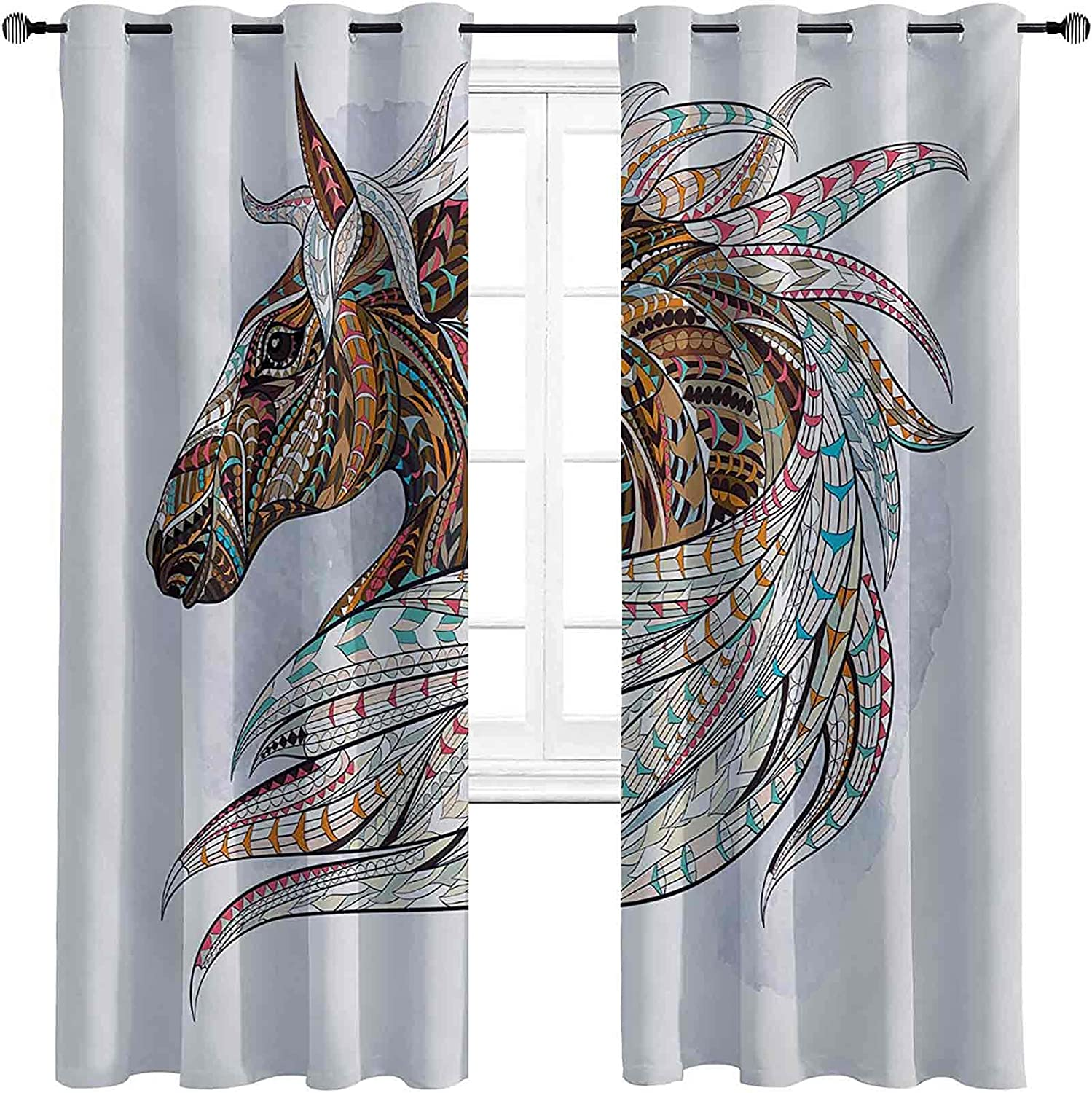 Horse Bedroom Blackout Curtains Indigenous Totem Ranking TOP3 Max 64% OFF M Animal Theme