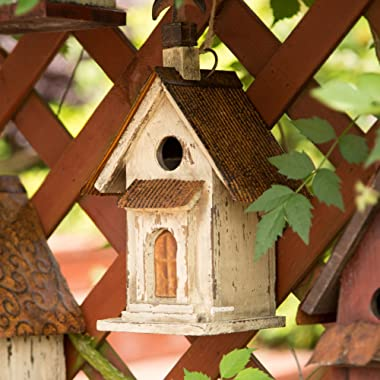 """Glitzhome 13.11"""" H Wooden Bird House Hanging Church Birdhouse for Outside"""