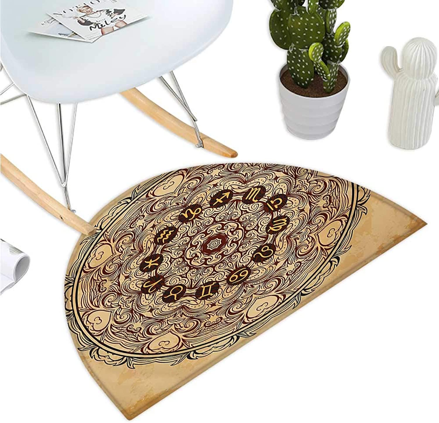Zodiac Semicircular Cushion Micro Cosmos Universe Icon Eastern Lace Mandala Form with Signs on Grunge Backdrop Entry Door Mat H 39.3  xD 59  Brown Tan