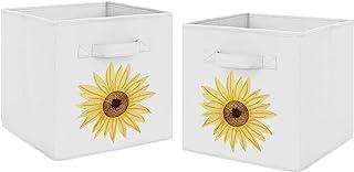 Sweet Jojo Designs Yellow, Green and White Sunflower Boho Floral Foldable Fabric Storage Cube Bins Boxes Organizer Toys Ki...