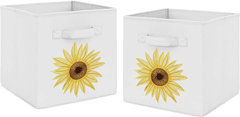 Sweet Jojo Designs Yellow Green And White Sunflower Boho Floral Foldable Fabric Storage Cube Bins Boxes Organizer Toys Kids Baby Childrens Set Of 2 Farmhouse Watercolor Flower