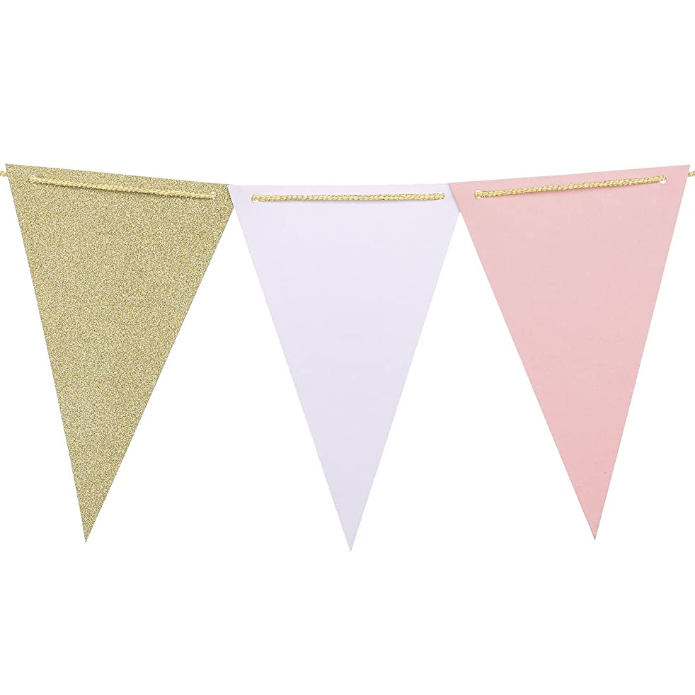 Ling's moment 15pcs Paper Pennant Banner Flags, Triangle Bunting Flags Banner, for Bridal Shower, Wedding, Baby Shower, Birthday, Event & Party Supplies, 15pcs Flags(sparkle gold,pink,white)