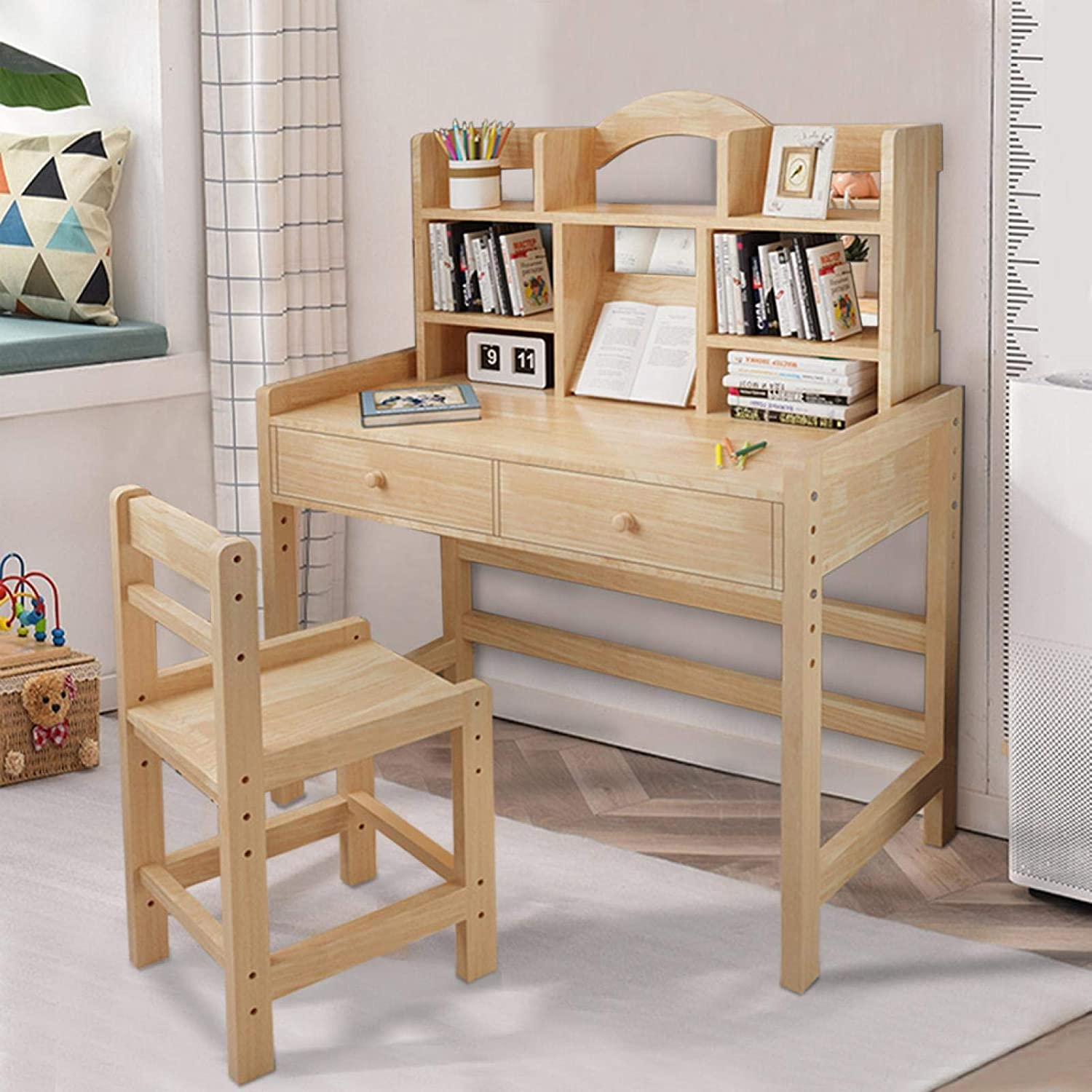 U.S. Shipping Wooden Kids Bedroom Furniture Wooden Student Desk and Chair Set with Drawers and Bookshelves Adjustable Height Table and Chair Set Students Study Computer Workstation