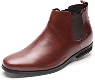 CHAMARIPA Height Increasing Chelsea Boots Black Calf Leather- Men High Heel Shoes 2.76 Inches - H82B42K015D