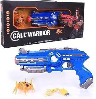 動き回るビートルを倒せ 対ビートル 赤外線銃 セット サウンド&バイブレーションがリアルでスリリングな対戦を演出 CALL OF WARRIOR 的当て (ブルー)
