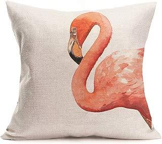 Smilyard Cotton Linen Tropical Flower Square Decorative Throw Pillow Case Cushion Cover Pink Bird Flamingo Pillow Covers 18 x 18 Inches (flamingo-4)