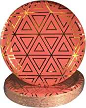 Good Party Large Paper Plates – Disposable Heavy-Duty Plates – 9-Inch Dinner Plate Bulk – Pantone Living Coral Gold Decorative – 40 Pack Geometric Pattern Dinner Plates – Strong Paper Plate Set - Pink