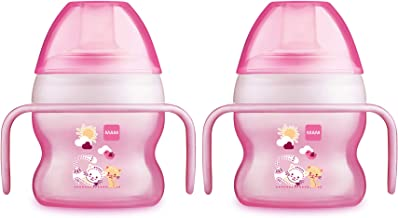 MAM Starter Cup, Sippy Cups for Toddlers with Handles, Girl, Pink, 5 oz, 2 Count
