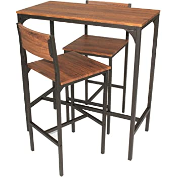 SoBuy® Set 3 Pezzi Tavolo con 2 sgabelli, Set di mobili da