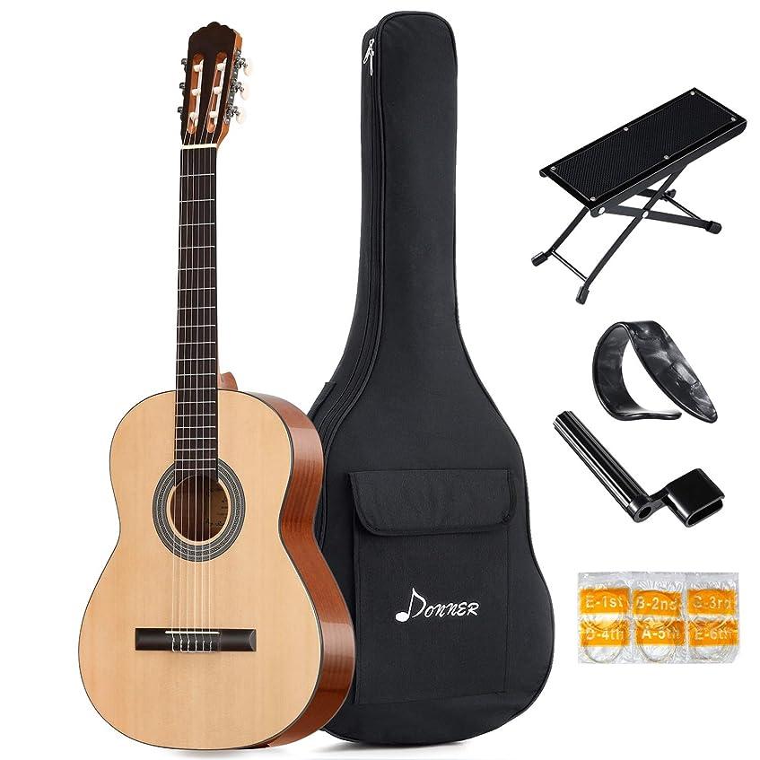 今日ホイール起訴するDonner DCG-1 クラシックギター フルサイズ クラシック スプルース製 足台&サムピック付 初心者セット (39インチ)