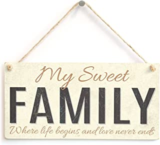 Meijiafei My Sweet Family - Where Life Begins and Love Never Ends - Loving Family Home Accessory Gift Sign 10