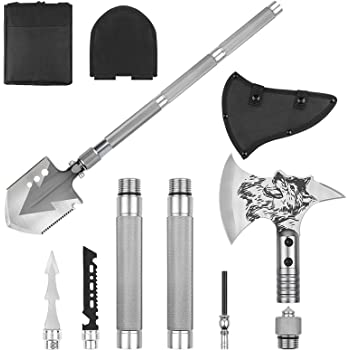 LIANTRAL Folding Shovel & Survival Axe Set- Portable Multi Tool Survival Kits with Tactical Waist Pack, Camping Axe Military Shovel for Backpacking, Entrenching Tool, Car Emergency