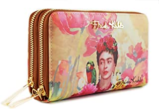 Frida Kahlo Floral Series Double Zip Wallet / Wristlet