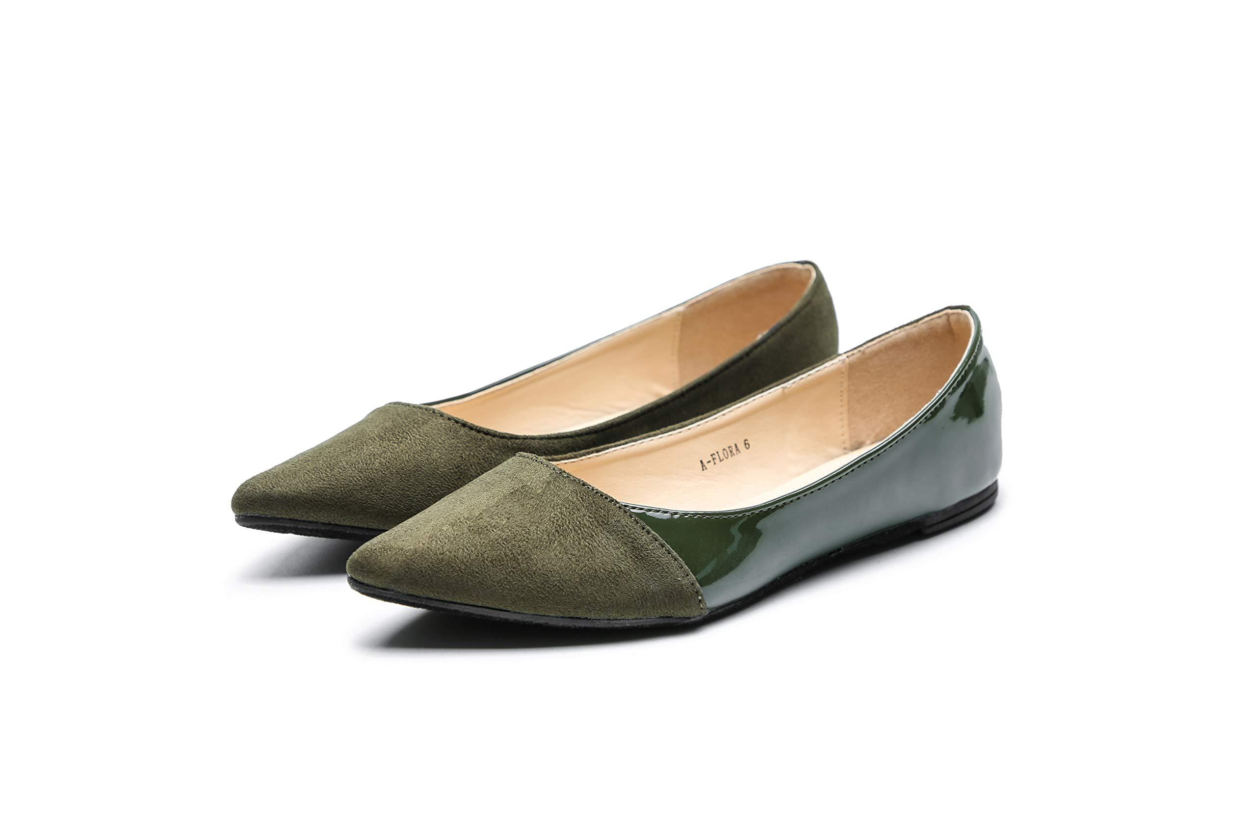 Mila Lady Flora 时尚麂皮*皮革尖头舒适一脚蹬芭蕾舞时髦平底鞋