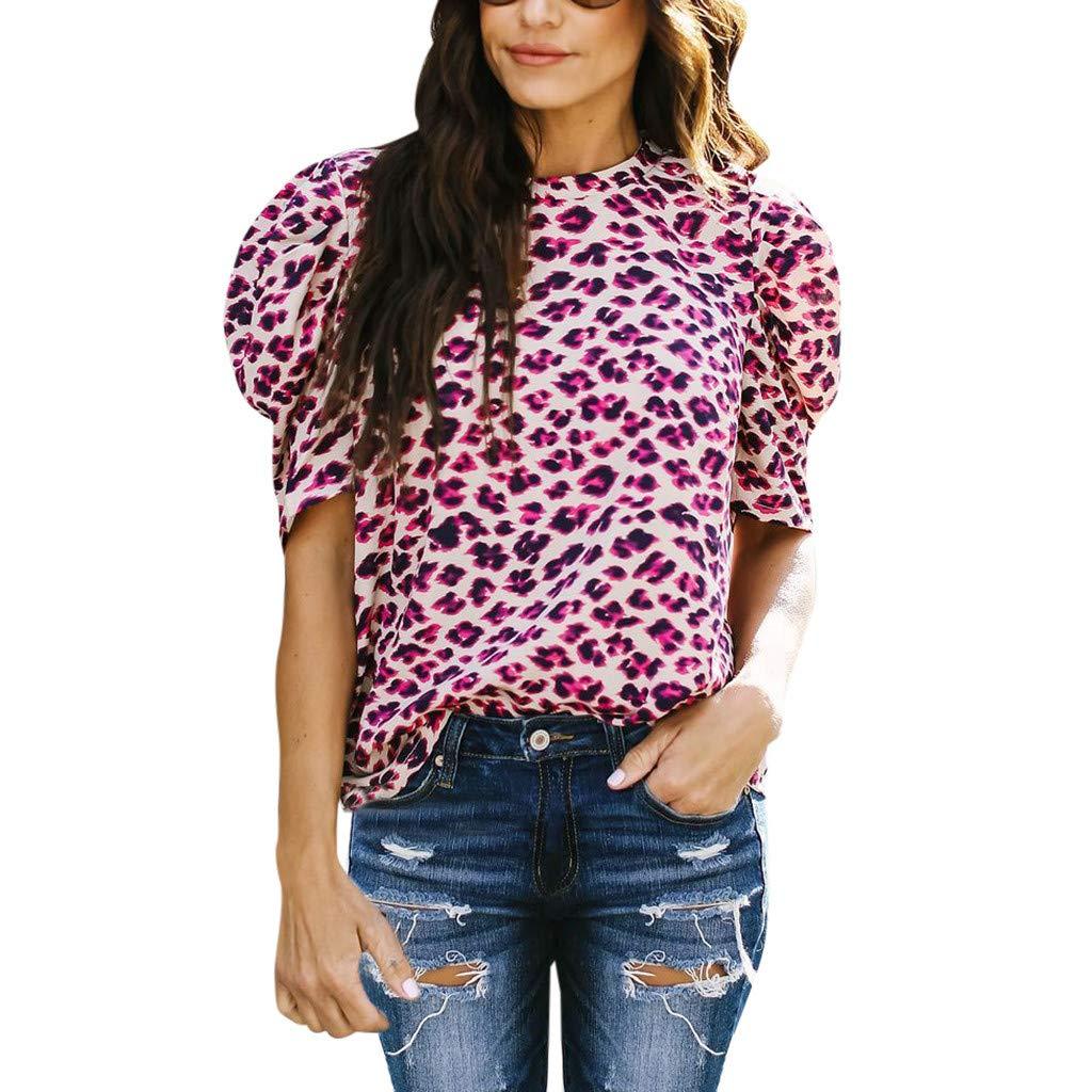 Yusealia Camiseta para Mujer Sexy, Blusa Sexy Mujer de Casual Blusa de Manga Corta con Estampado de Leopardo Mujer Camisas Fiesta Camiseta Tops Blusa: Amazon.es: Deportes y aire libre
