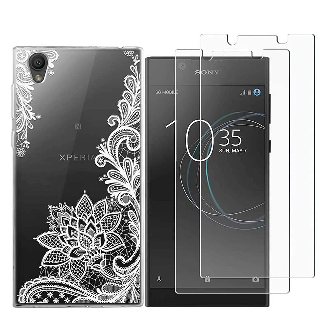 Sony Xperia XA1 Ultra Case with 2 Pack Glass Screen Protector Phone Case for Men Women Girls Clear Soft TPU with Protective Bumper Cover Case for Sony Xperia XA1 Ultra-White Flower