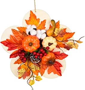 12Inch Fall Wreath Front Door Wreath with Pumpkins/Berries/Maple Leaves Fall Harvest Wreath for Autumn Wedding Party Thanksgiving/Halloween Wall Hanging Decor