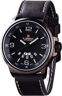 ساعة يد دائريه للرجال سوداء و سوار جلد اسود مع تاريخ واليوم من نافي فورس