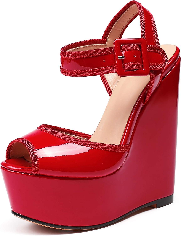 Ranking TOP14 Eldof Womens Wedge Platform Sandals H Strap Ankle Finally popular brand Toe Peep