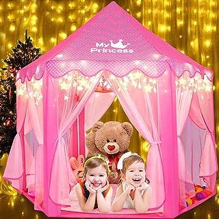 Fivejoy Tienda de Princesa, Princesa Interior Tiendas, Castillo Princesas, Juego de Castillo Princesa para Niñas con Support de PVC, 2 Modos de Luces de Estrellas, 140 x 135 x 140 CM (DxHxW) - Rosa