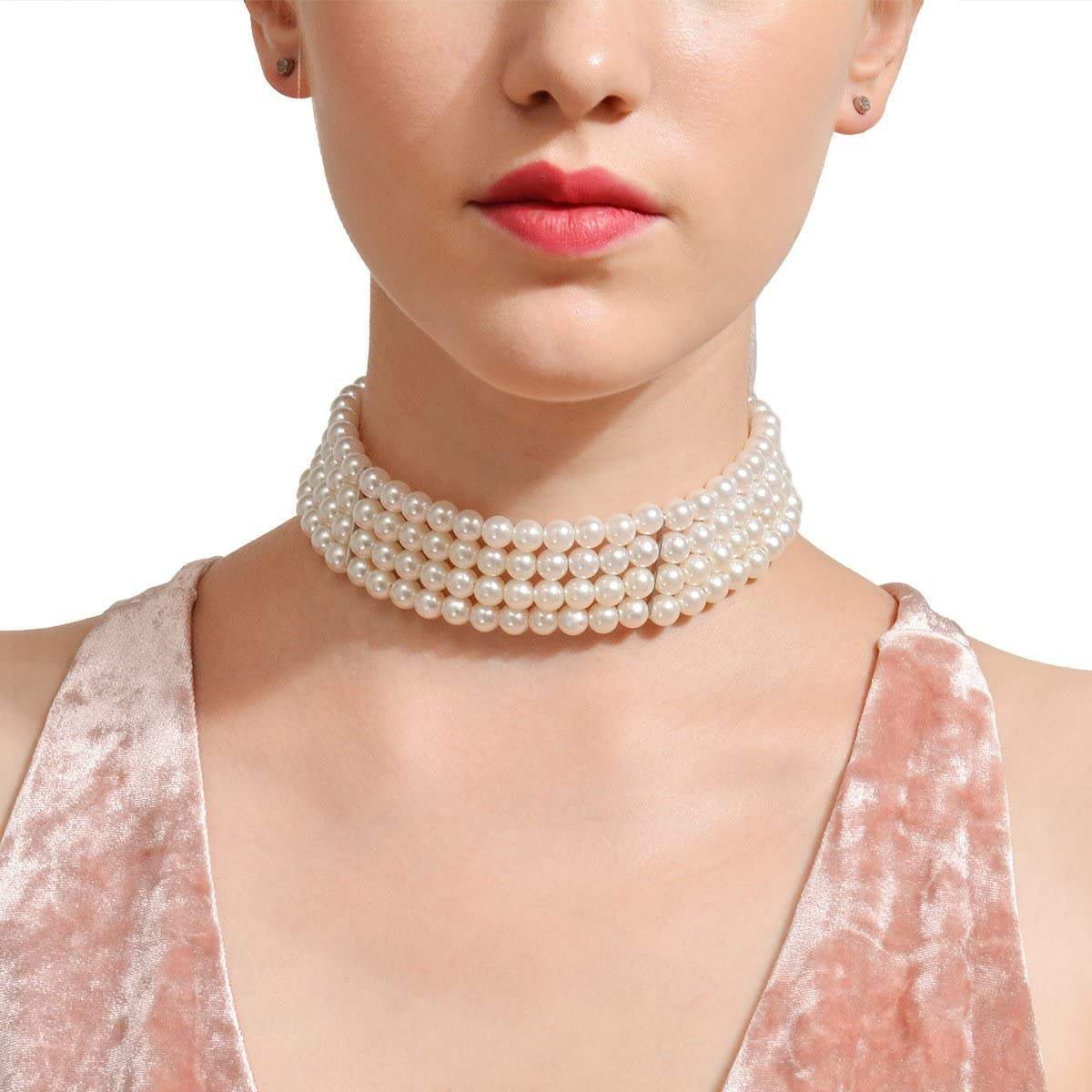Multi Strand Faux Pearl Choker Necklace for Women Girls 10.3-14.17 inches