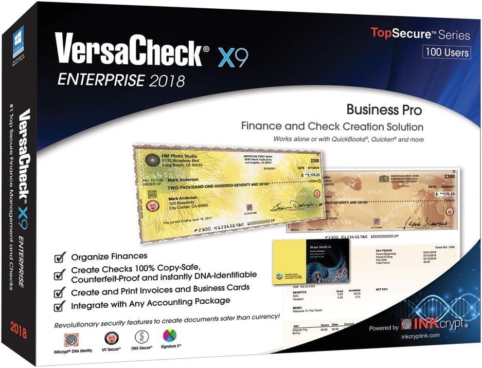VersaCheck X9 Enterprise 2018 - Crea Save Kansas City Mall money Check 100 Finance Users
