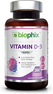 Vitamin D3 10000 IU 380 Softgels - High-Potency   Non-GMO   Soy-Free   in Extra Virgin Olive Oil   Strong Bones   Immune Health   Support for K-2