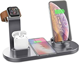 Yestan Wireless Charger 4 in 1 Wireless Charging Dock Compatible with Apple Watch 5 and Airpods Charging Station Fast Wireless Charging Stand for iPhone 11 11 Pro X XS XR Xs Max 8 8 PlusSpace Gray