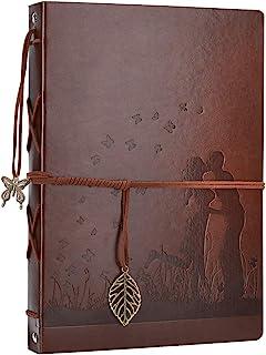 AIOR Album Photo Cuir, Traditionnel Album Photo Scrapbooking 60 Pages Noire, Cadeau Original Anniversaire Mariage Couple, ...