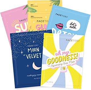 FaceTory Collection Facial Mask Set | For All Skin Types | Hydrating, Purifying, Soothing, Moisturizing, Revitalizing (5 C...