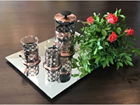 FAB5 Gift Hamper of Copper Finish Glass Coffee French Press and Cup Set (3)