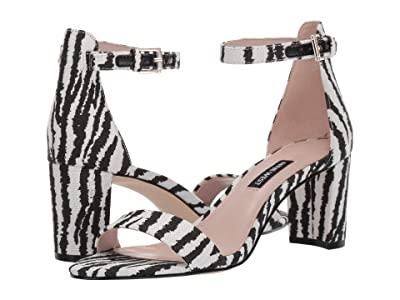 Nine West Pruce Block Heel Sandal (Black/White Multi) High Heels
