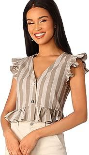 Women's Ruffle Hem Button Striped Peplum Blouse Crop Top