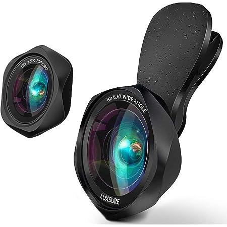 スマホ用カメラレンズ クリップ式レンズ 広角レンズ マクロレンズ 自撮りレンズ - Luxsure Apple Android ほぼ全機種対応 簡単装着 ローズ型2in1