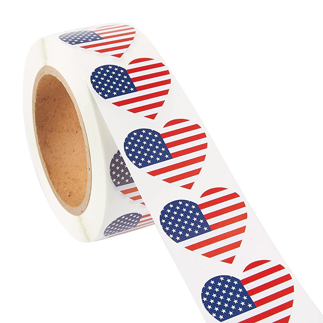 American Flag Sticker Roll - 1000-Count Heart Shaped USA Flag Sticker Labels, Patriotic US Adhesive Decal, 1.7 x 1.5 Inches